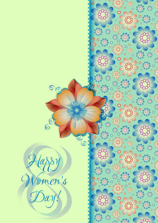 womanish: Greeting card on background from blue and green floral pattern for International Womens Day. March 8. Vector illustration. Seamless floral pattern see in my portfolio