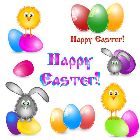 chuck: Set of paschal pictures as greeting with Easter isolated on white with painted eggs, little yellow chicken and easter bunny in different versions. Vector illustration