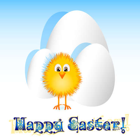 paschal: Holiday card for Easter with paper eggs and little paschal yellow chicken on white background. Vector illustration