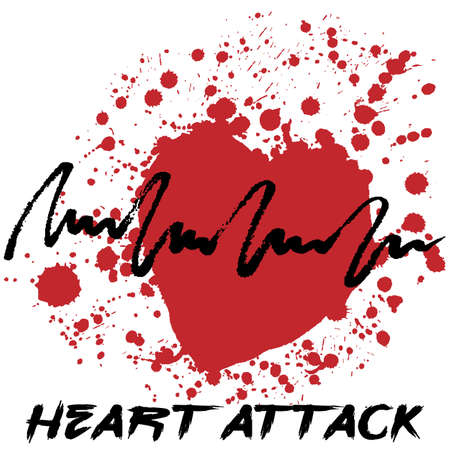 heart attack: Heart attack icon. Creative hand drawn icon with splashes in shape of red heart symbolizing heart attack. Stylized heart attack creative cardiology icon. Isolated on white.