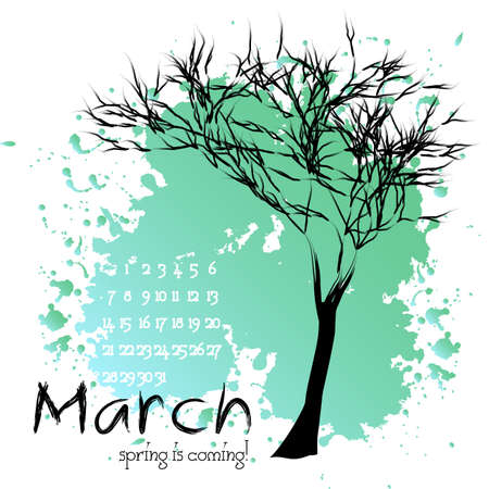 celadon green: Abstract nature background with tree and sample of dates for calendar month March. Calendar design. Shape of tree on background of turquoise splashes and blots.