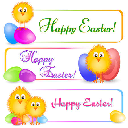passover and easter chick: Three colorful horizontal banners with yellow Easter chicken and varicolored painted Easter eggs isolated on white background. Easter banner, frame design, border frame background.