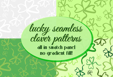 shamrock seamless: Set of four seamless floral patterns with lucky green clover. Green seamless ornamental background. Floral design. Shamrock leaves pattern. Illustration