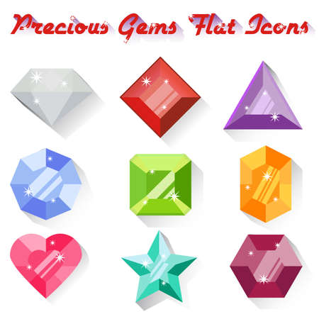 gems: Set of colorful precious gem icons in flat style with long shadows. Nine precious gems in different colors and shapes. Flat design icons. Vector illustration