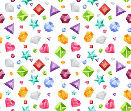 emerald stone: Seamless pattern with colorful precious gem icons in flat style. Seamless gem pattern. Precious gem background. Flat design pattern. Vector illustration