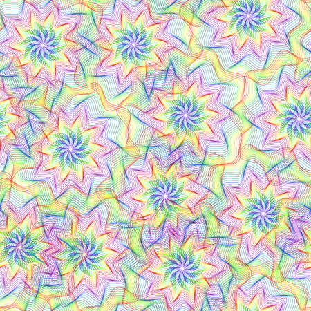 guilloche: Seamless pattern with colorful rainbow element of guilloche. Seamless guilloche pattern. Rainbow background. Guilloche design line art pattern. Vector illustration