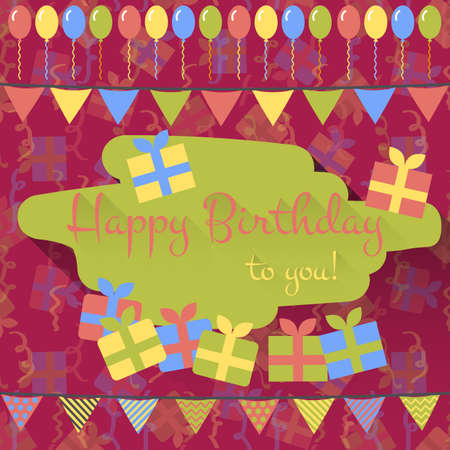maroon: Birthday card with balloons, gifts and garlands in flat style on maroon background with gifts and holiday tinsel. Flat design card. Happy birthday greeting. Vector illustration
