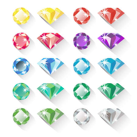 Set of colorful precious gem icons in flat style with long shadows. Ten precious gems in different colors and two shapes each. Flat design icons, isolated on white. Vector illustration Çizim