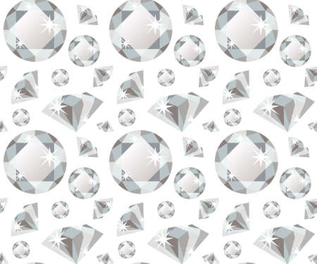 colorless: Seamless pattern with colorless precious gem diamond in flat style. Seamless gem pattern. Brilliant background. Flat design pattern. Vector illustration Illustration