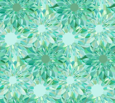 celadon: Seamless floral pattern with turquoise guilloche flowers. Beryl crystal seamless guilloche pattern. Celadon seamless background. Guilloche design line art pattern. Vector illustration