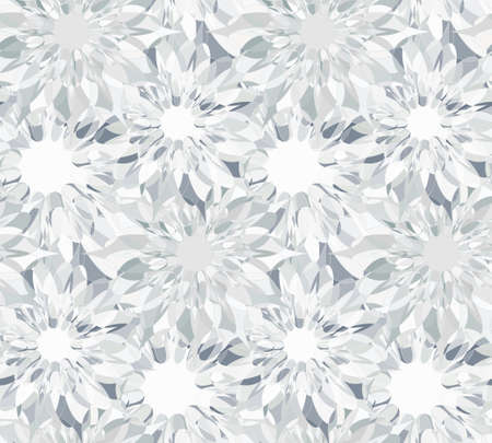 guilloche: Seamless floral pattern with silver guilloche flowers. Diamond crystal seamless guilloche pattern or background. Vector illustration Illustration