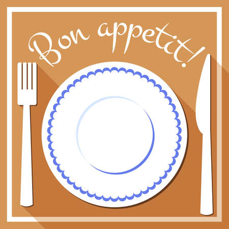White plate with blue border and cutlery. Bon appetit icon in flat style. Menu flat design. Vector illustration Vettoriali