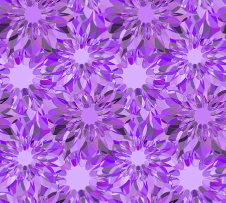 Seamless floral pattern with violet guilloche flowers. Charoite crystal seamless guilloche pattern or background. Vector illustration