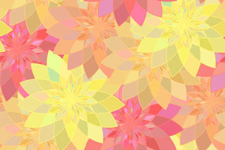 tangier: Seamless pattern with red, yellow and orange floral guilloche. Red seamless abstract flower background. Vector illustration Illustration