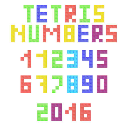arabic numerals: Tetris arabic numerals from colored pieces. Colorful tetrimino numbers and symbols in flat style. Vector illustration