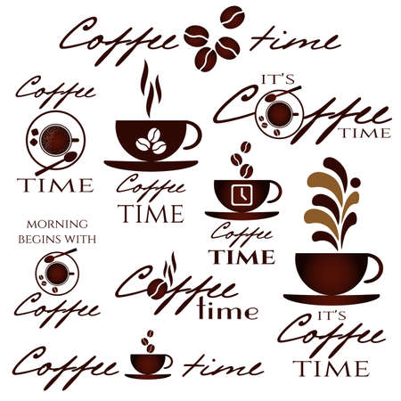 Coffee time concept. Coffee cup logo in different versions. Design icons set for coffee break, shop or cafe. Vector illustration