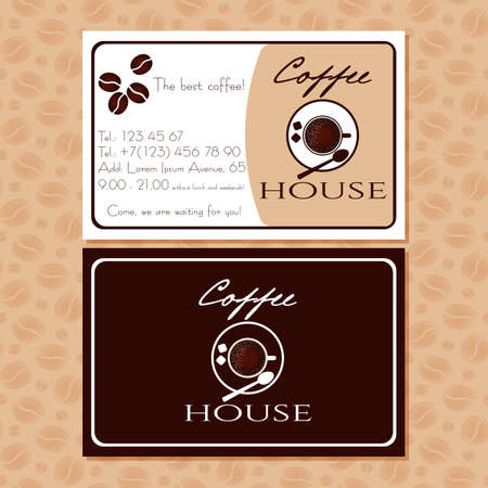cutaway: Coffee business cards for advertising of cafe. Handbill with coffee cup logo and contact information. Design cutaway, visit card in retro style for coffee shop or cafe. Vector illustration