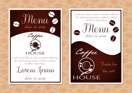Coffee poster for advertising of cafe. Placard with coffee cup logo in white and brown colors. Design flier, card, poster in retro style for coffee menu, shop or cafe. Vector illustration