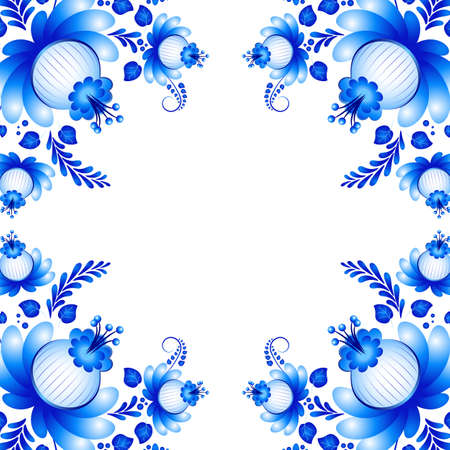 Symmetric blue floral ornament in Gzhel style on white background. Russian folklore. Vector illustration