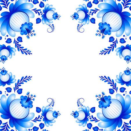 gzhel: Symmetric blue floral ornament in Gzhel style on white background. Russian folklore. Vector illustration Illustration