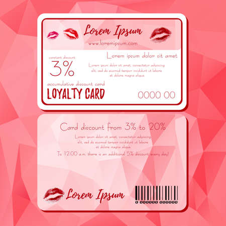 womanish: Fashion templates of discount card in polygonal style with red lips logo. Loyalty card for cosmetics store or shop in polygonal style. Vector illustration