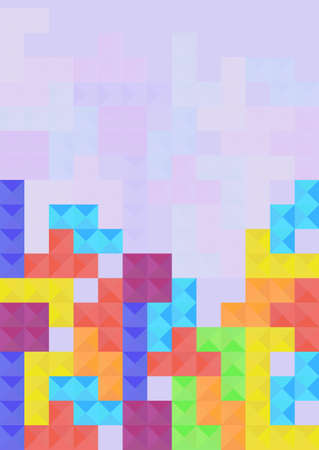Tile background from colorful mosaic block elements in flat style. Vector illustration