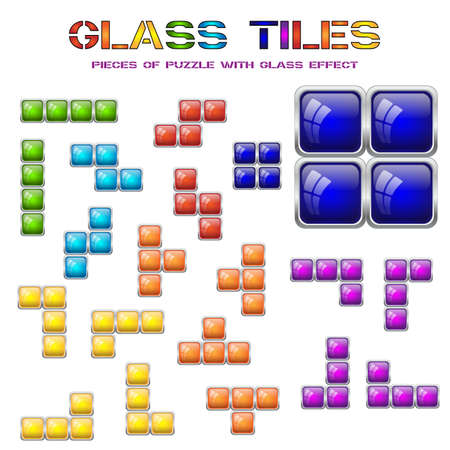 tetris: Set of different tile blocks. Design elements of mosaic in seven main shapes and colors with glass effect isolated on white. Vector illustration Illustration