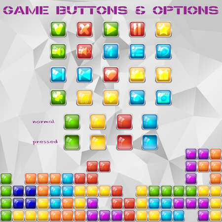 graphical: Colorful tile glass buttons and options with glass effect. Stylized graphical user interface for games. Vector illustration