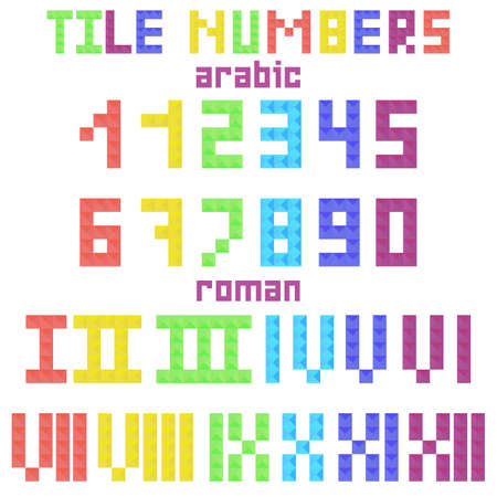 roman numerals: Set of tile arabic and roman numerals from colored mosaic pieces. Colorful block numbers in flat style. Vector illustration Illustration