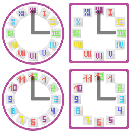 tetris: Set of clock icons with arabic and roman tile mosaic numbers on dial in round and square shapes in flat style. Vector illustration