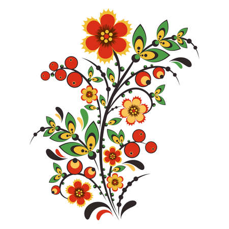folklore: Floral ornament in Khokhloma style in traditional colors isolated on white background. Russian folklore. Vector illustration