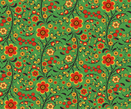 hohloma: Seamless floral pattern with ornamental flowers in Khokhloma style. Floral design. Traditional russian Hohloma ornament with flowers. Vector illustration