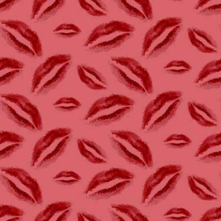 beauty products: Seamless fashion pattern with red polygonal lips. Makeup lipstick design. Cosmetics store advertising. Beauty products marketing. Pink background. Vector illustration Illustration