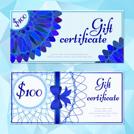 modish: Fashion templates of gift vouchers in two versions with blue mandala pattern. Certificates for presents in cosmetics store or shop, beauty salons, yoga studios, massage cabinet. Vector illustration Illustration