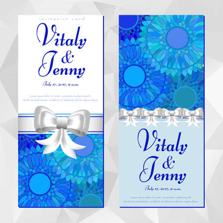 birth day: Two cards with blue mandala pattern for Womens, Mothers, Birth day, Anniversary, Wedding, Invitation. Posters for cosmetics store, beauty salons, yoga studios, massage cabinet. Vector illustration