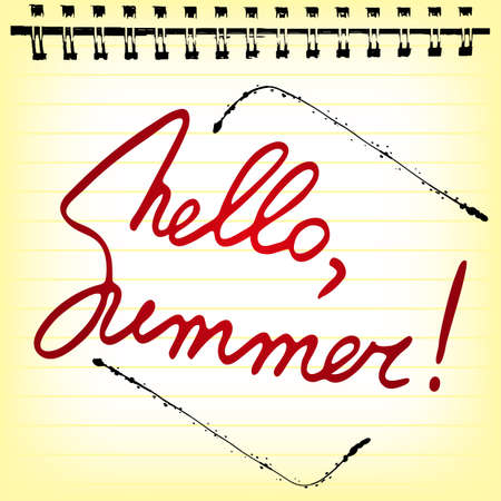 annotation: Welcoming memo card with stylized hand written lettering Hello Summer in notepad sheet. Vector illustration Illustration