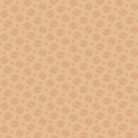 scattering: Beige seamless background with scattering of coffee beans. Seamless coffee pattern. Design for cards, wallpaper, posters, clothes. Vector illustration Illustration