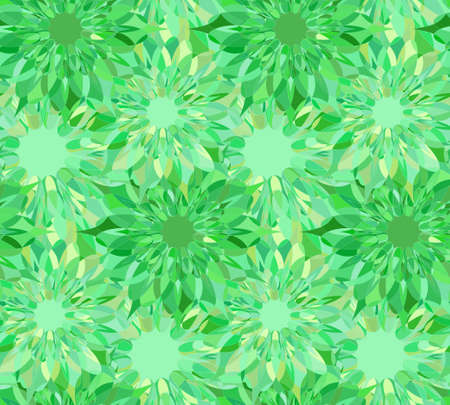 Seamless floral pattern with green guilloche flowers. Emerald crystal seamless guilloche pattern or background. Vector illustration Illustration
