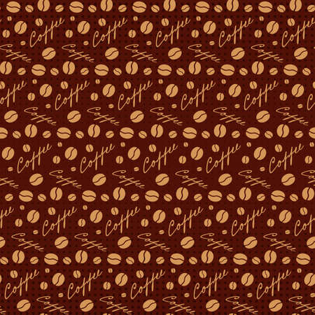 scattering: Brown seamless background with scattering of coffee beans and lettering. Seamless coffee pattern in dark brown colors. Design for cards, wallpaper, posters, clothes. Vector illustration
