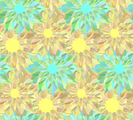 tangier: Seamless floral pattern with yellow and cyan guilloche flowers. Colorful crystal seamless guilloche pattern or background. Vector illustration