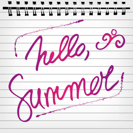Welcoming memo card with hand written lettering Hello Summer in notepad sheet. Vector illustration