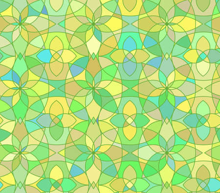 vitrage: Seamless pattern with stained glass ornament in green colors. Colorful kaleidoscope background. Vector illustration Illustration