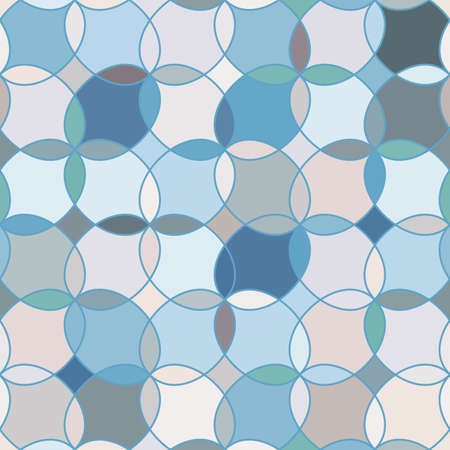 tangier: Seamless pattern with stained glass ornament in light blue colors. Colorful kaleidoscope background. Vector illustration Illustration
