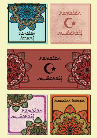 lent: Greeting mini cards with oriental mandala ornament in eastern colors. Postcard in five variants for greeting with Islamic holidays Ramadan, Eid al-Fitr, Eid al-Adha. Vector illustration Illustration