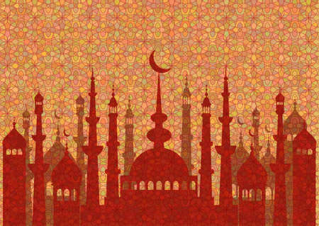fasting: Red pattern with mosques on stained glass kaleidoscope backdrop for wishes with beginning of fasting month of Ramadan, as well with Islamic holiday Eid al-Fitr and Eid al-Adha. Vector illustration