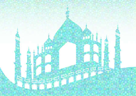 Cyan pattern with mosques on stained glass kaleidoscope backdrop for wishes with beginning of fasting month of Ramadan, as well with Islamic holiday Eid al-Fitr and Eid al-Adha. Vector illustration Illustration