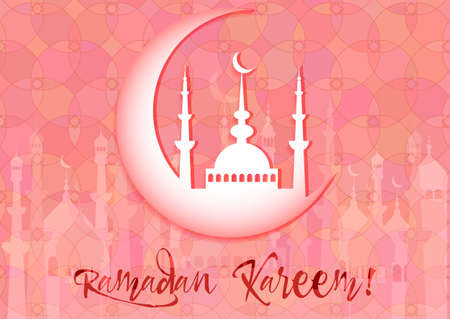 fasting: Card with mosque on moon for wishes with beginning of fasting month of Ramadan, as well with Islamic holiday Eid al-Fitr and Eid al-Adha. Pink kaleidoscope background. Vector illustration