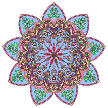 vitrage: Colorful pattern of ornamental mandala in blue eastern colors, isolated on white. Vector illustration Illustration