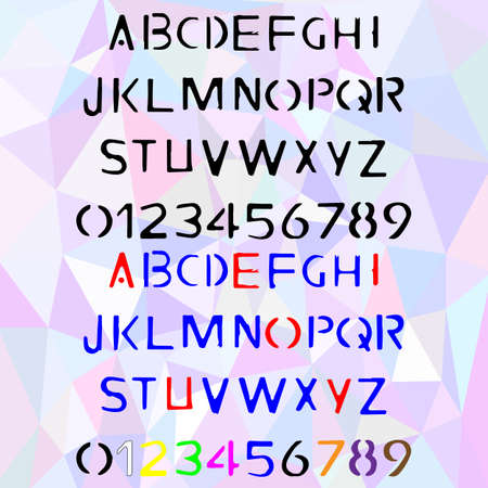 cliche: Hand drawn stencil alphabet, written stamp font with capital and lowercase letters, also numbers and punctuation in two color versions. Vector illustration