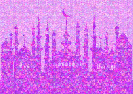 fasting: Lilac pattern with mosques on stained glass kaleidoscope backdrop for wishes with beginning of fasting month of Ramadan, as well with Islamic holiday Eid al-Fitr and Eid al-Adha. Vector illustration Illustration
